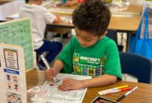 Kindergarten student coloring