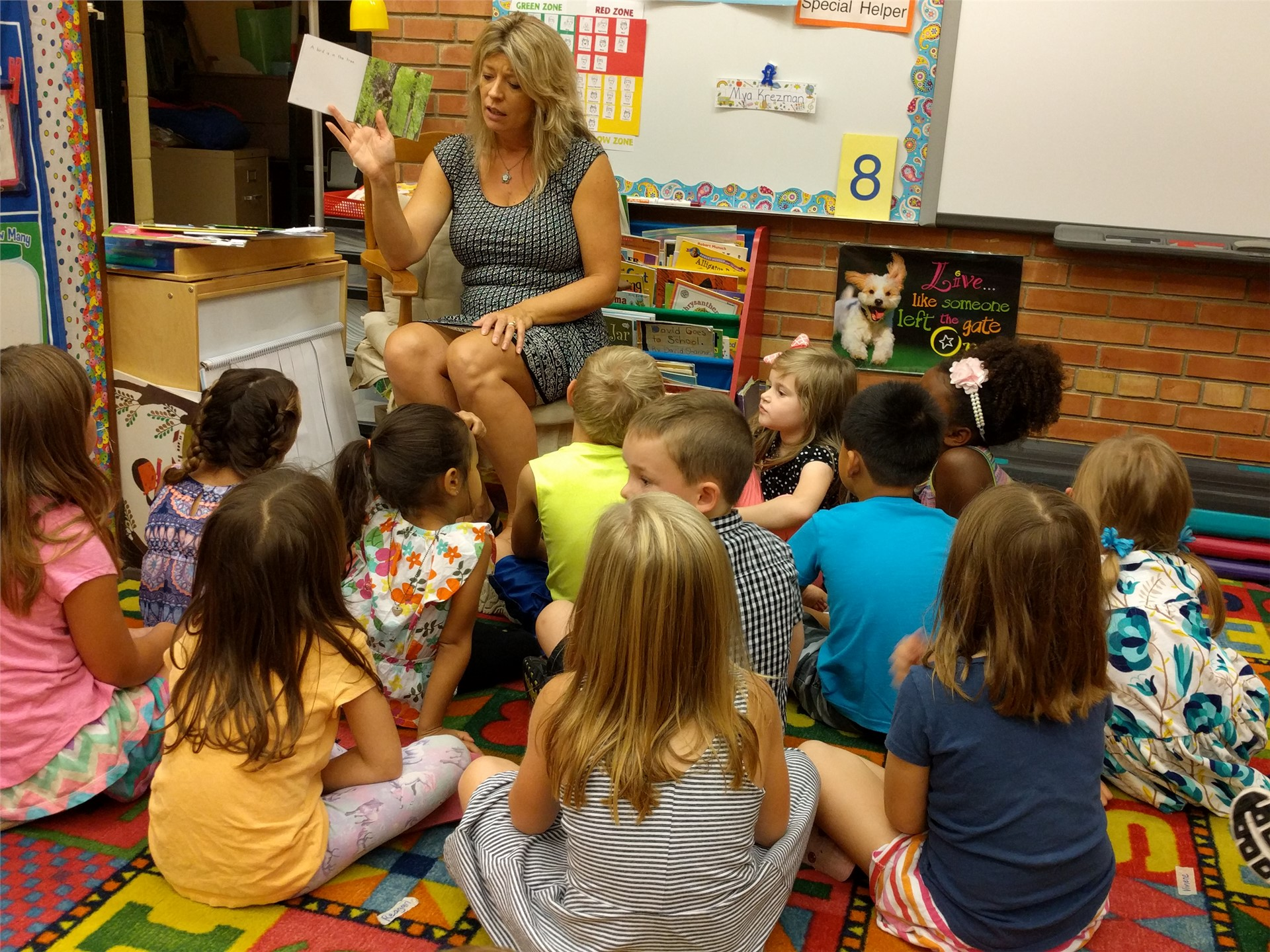 Mrs. Emmer's story time is a class favorite!