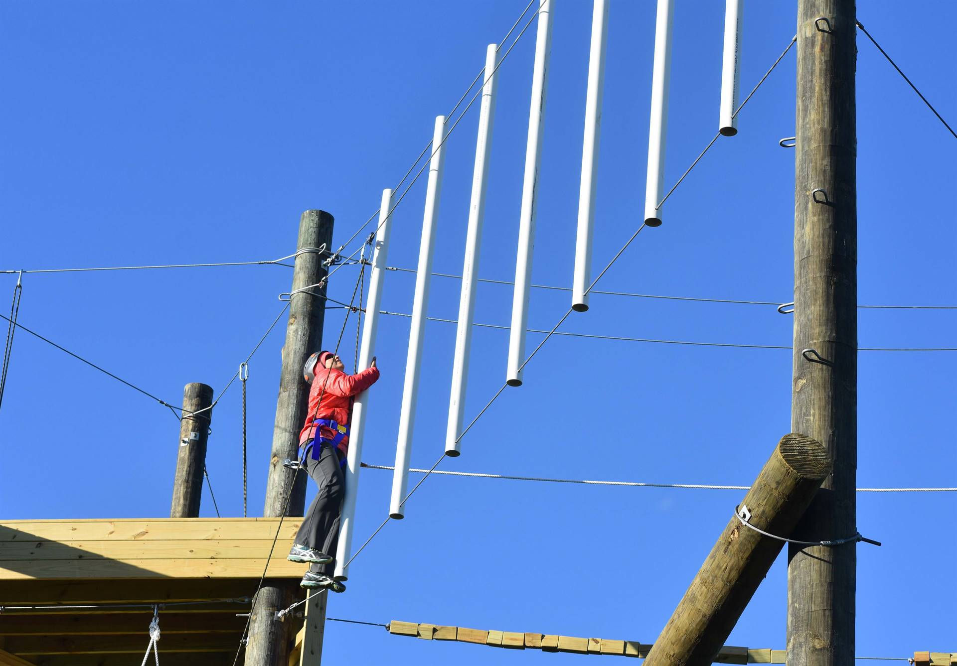 Climbing with poles on rope