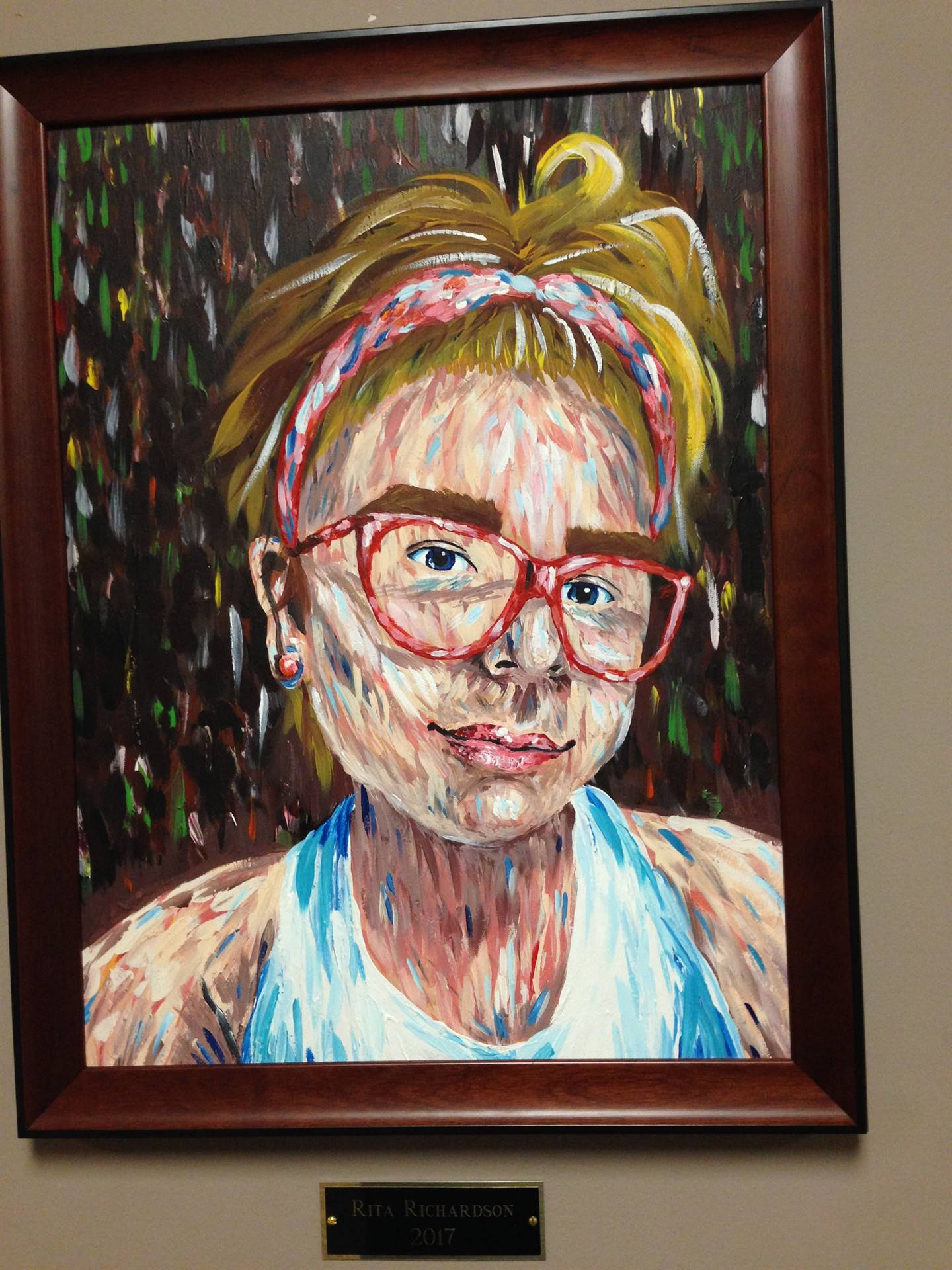 Artwork Young Girl with Headband & Glasses