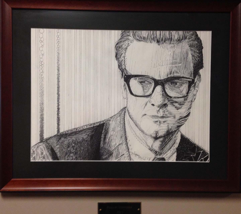 Artwork Middle-Aged Business Man Pencil Sketch