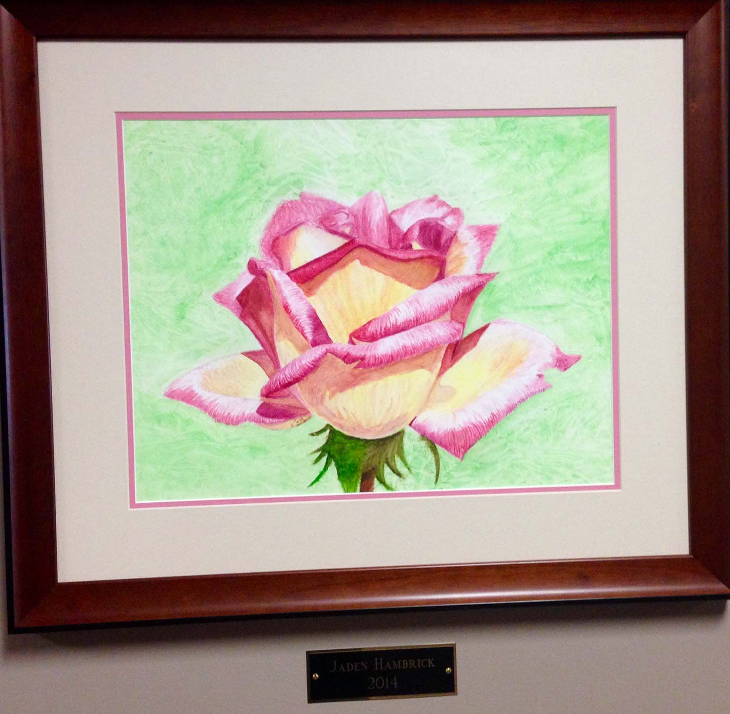 Artwork Ivory Rose with Fuchsia Tipped Edges