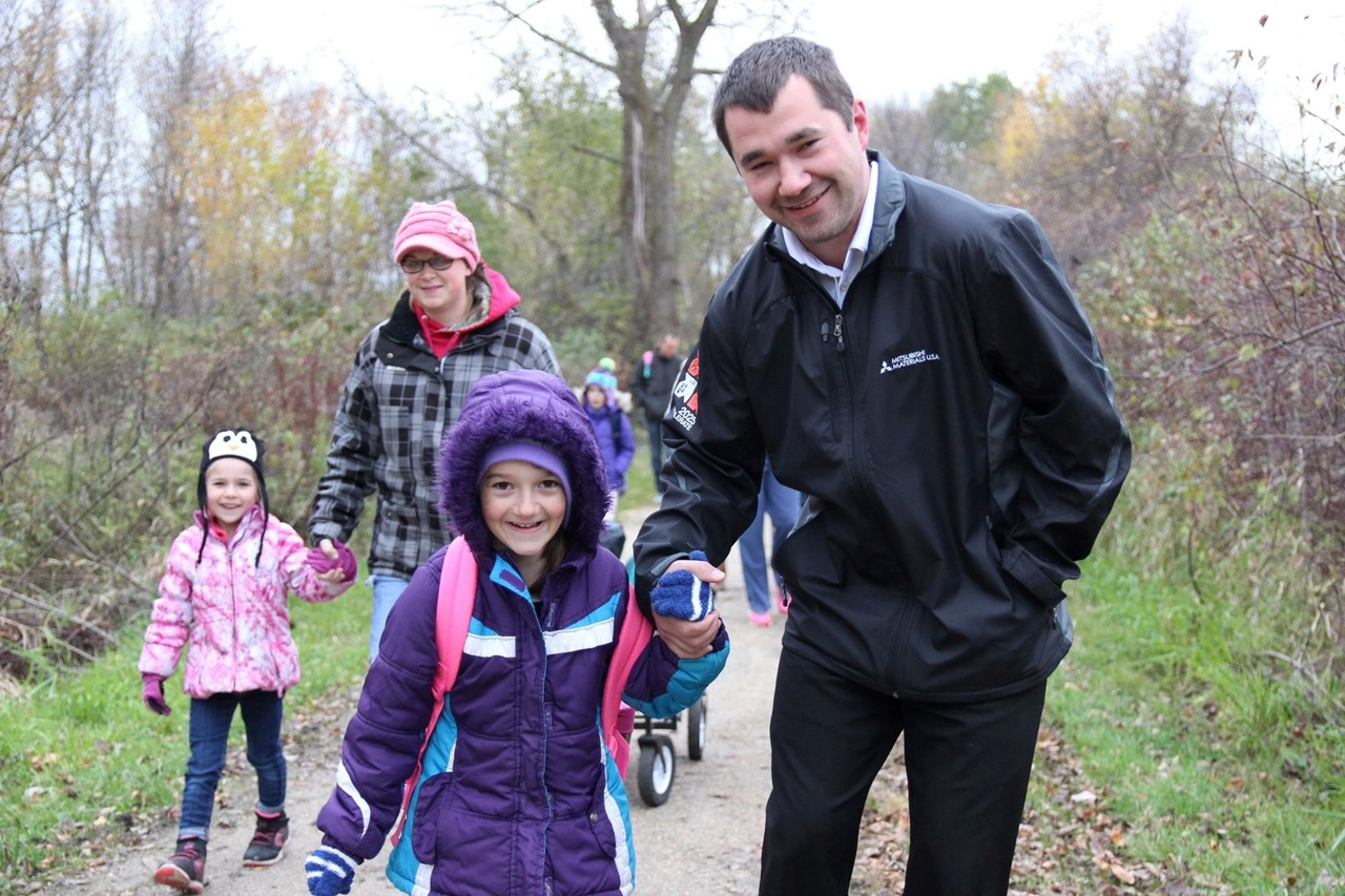 Lakeshore Student Walk to School with Dad