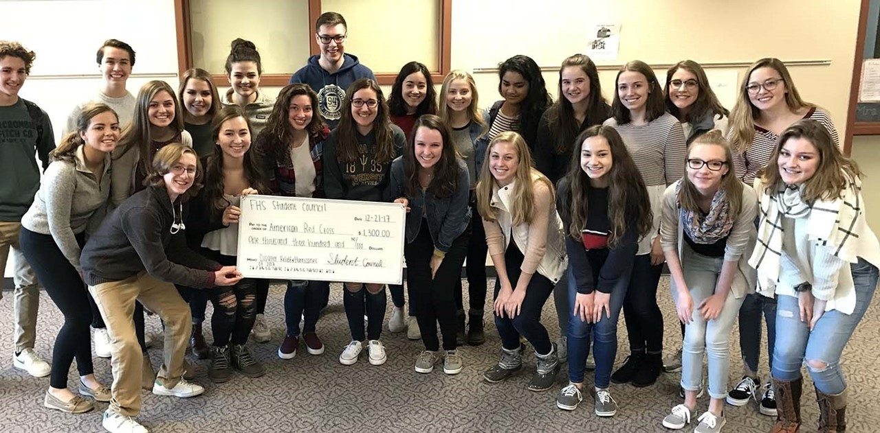 FDL High Students with Check to Red Cross
