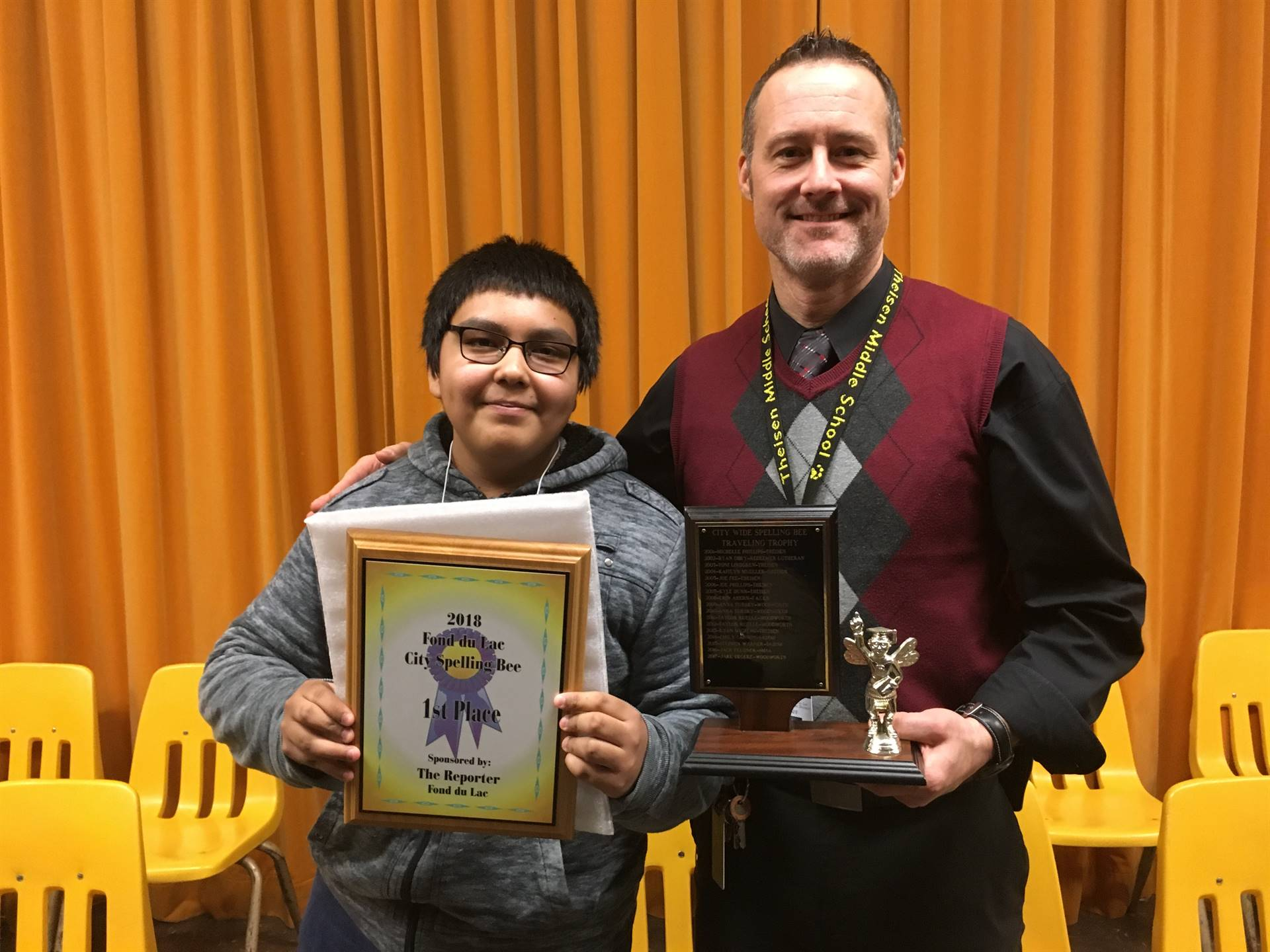 City Wide Spelling Bee Winner and Principal