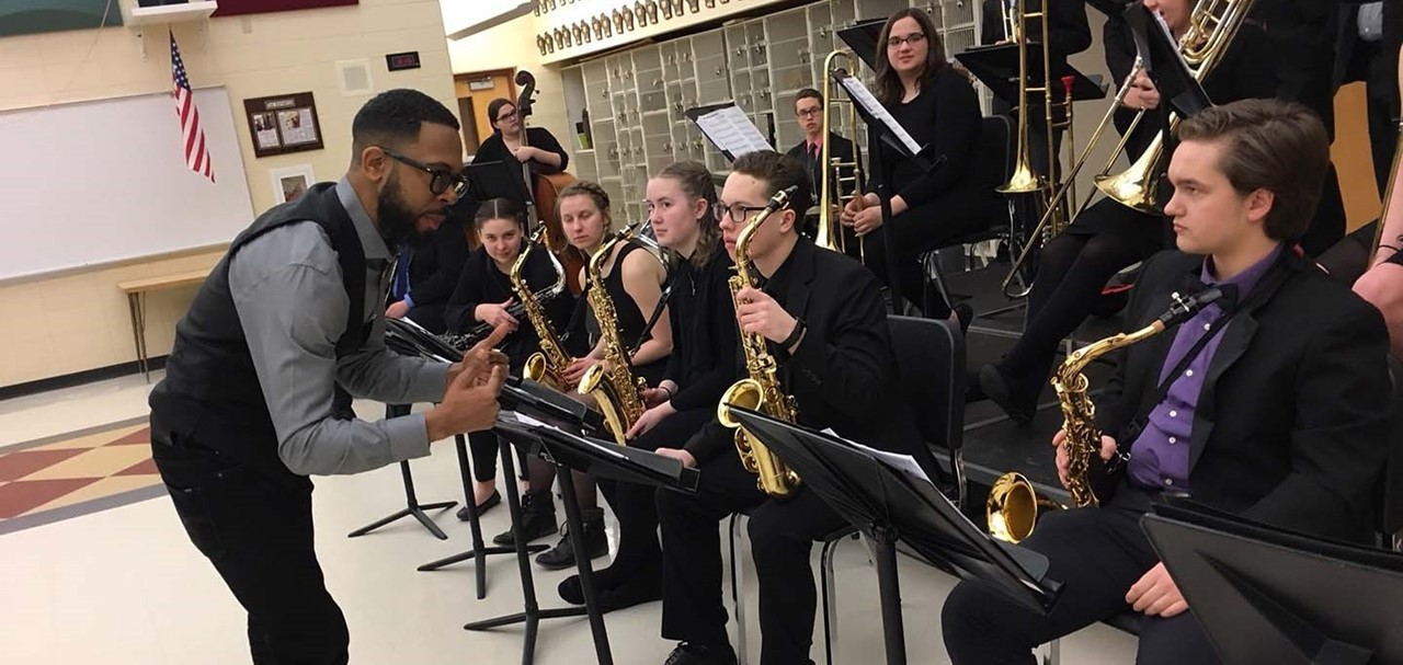High School Jazz One students with Julliard Director