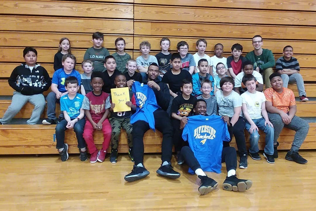 Riverside Students With WI Herd Basketball Player Colombo