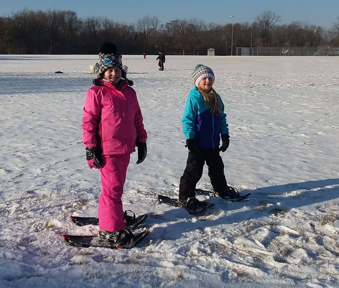 Elementary students snow-shoeing