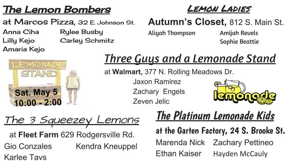 Lemonade Day-list of stands