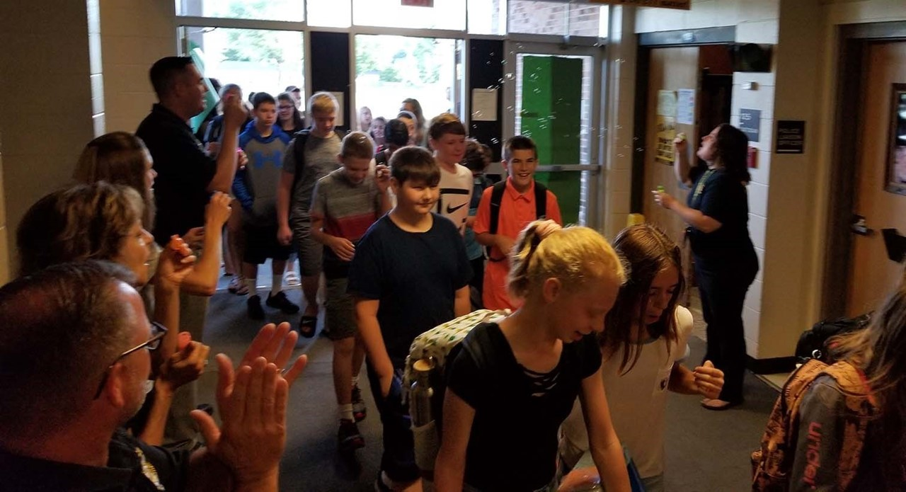 Theisen Students enter building