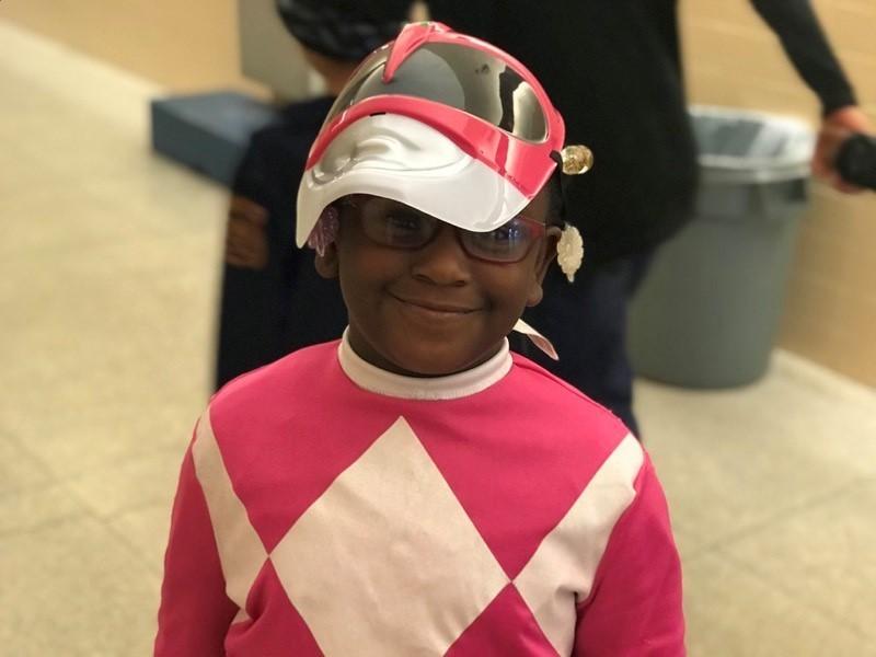 Riverside Student wearing PowerRangers costume