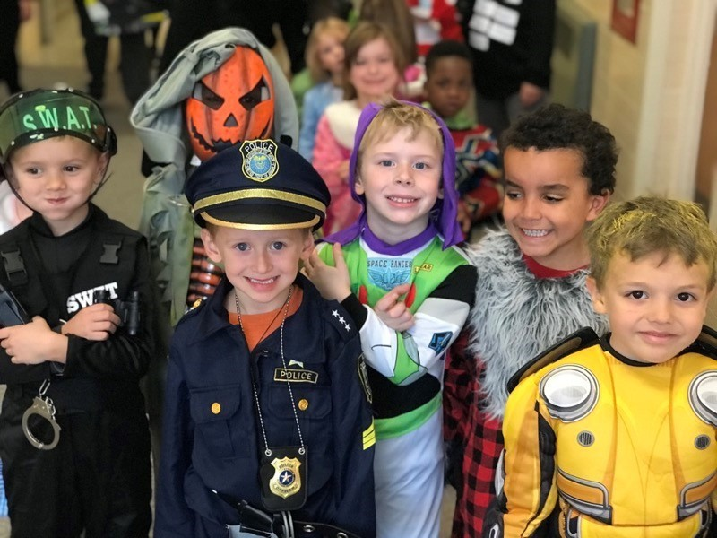 Riverside Students wearing halloween outfits