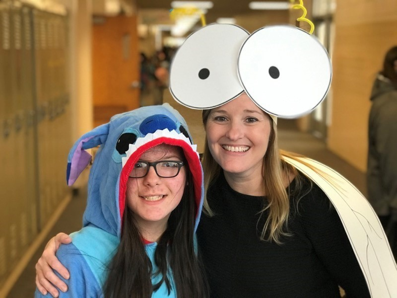 Riverside Student and Principal Jessica Hughes wearing halloween costumes