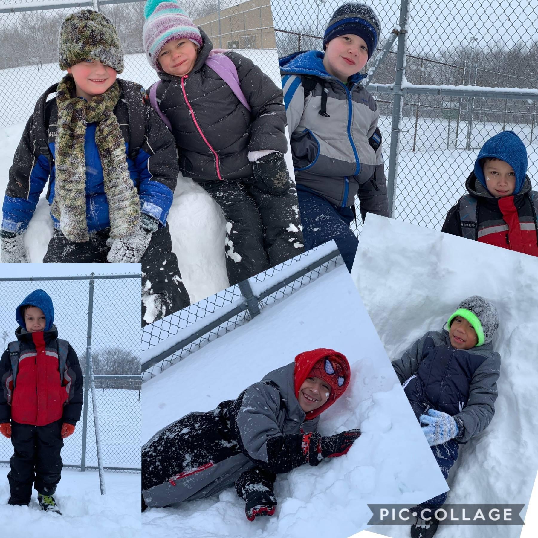 Winter snow at recess