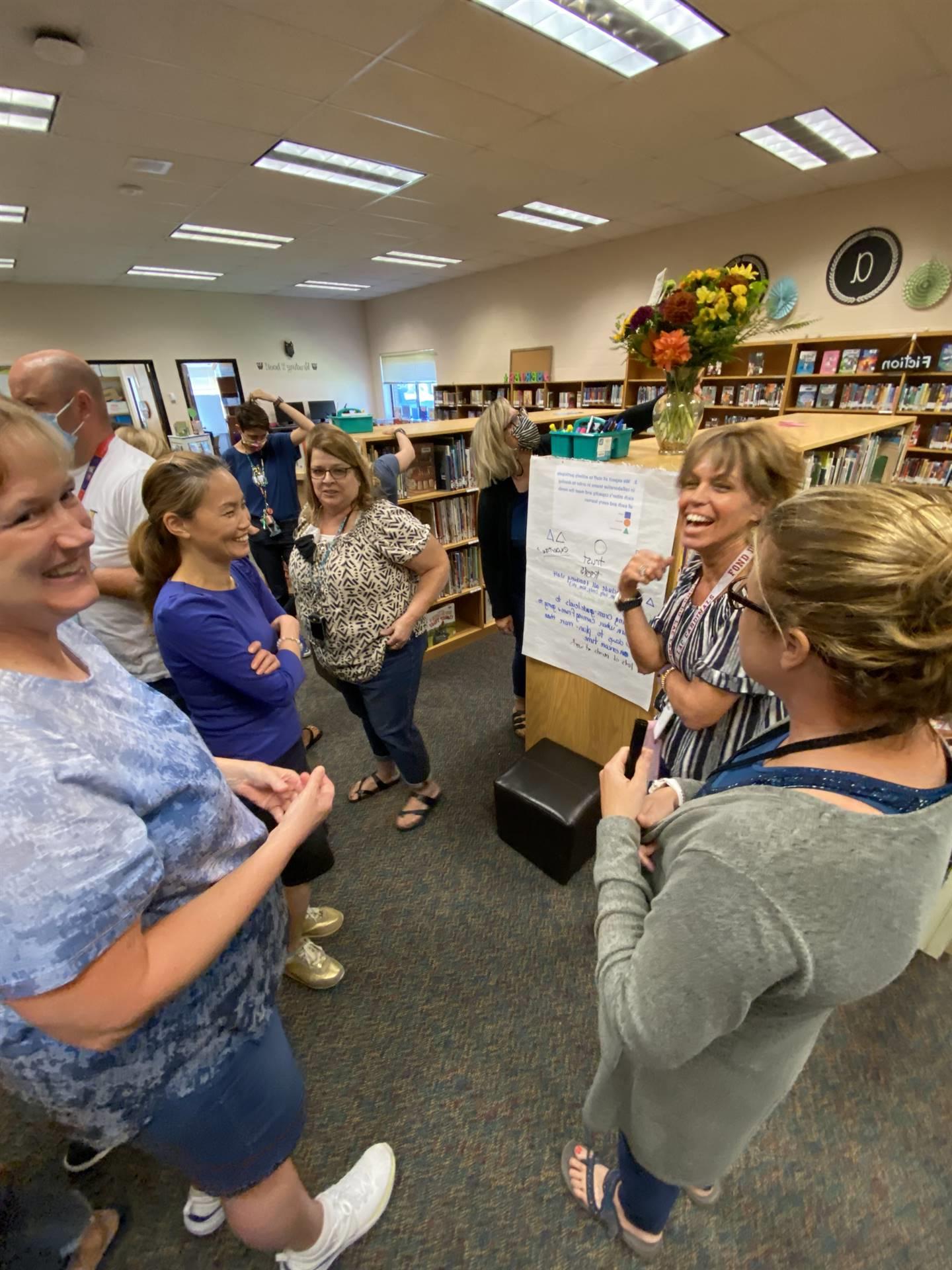 Teachers collaborating during staff development.