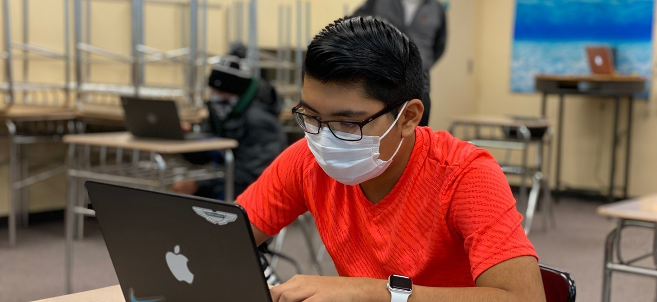 FHS Student working on computer Dec. 2020